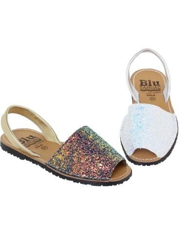 Sandale din piele naturala , Avarca Blu Glitter
